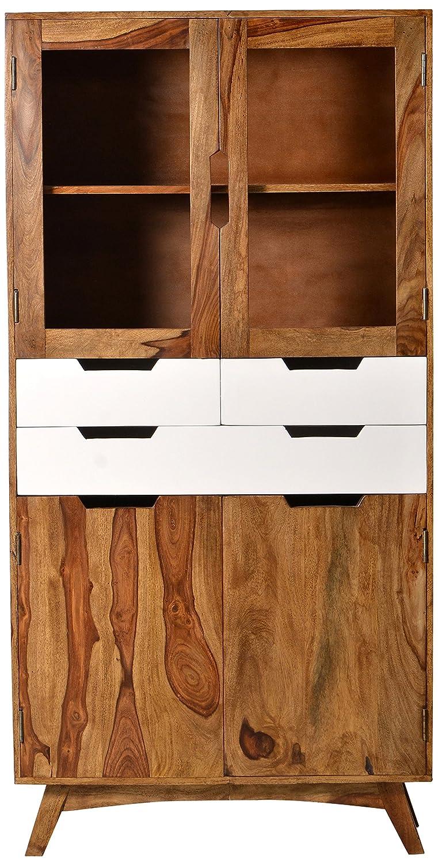 SIT-Möbel 7704-10 Vitrine Sixties, antikfinish, 90 x 40 x 80 cm, braun / weiß