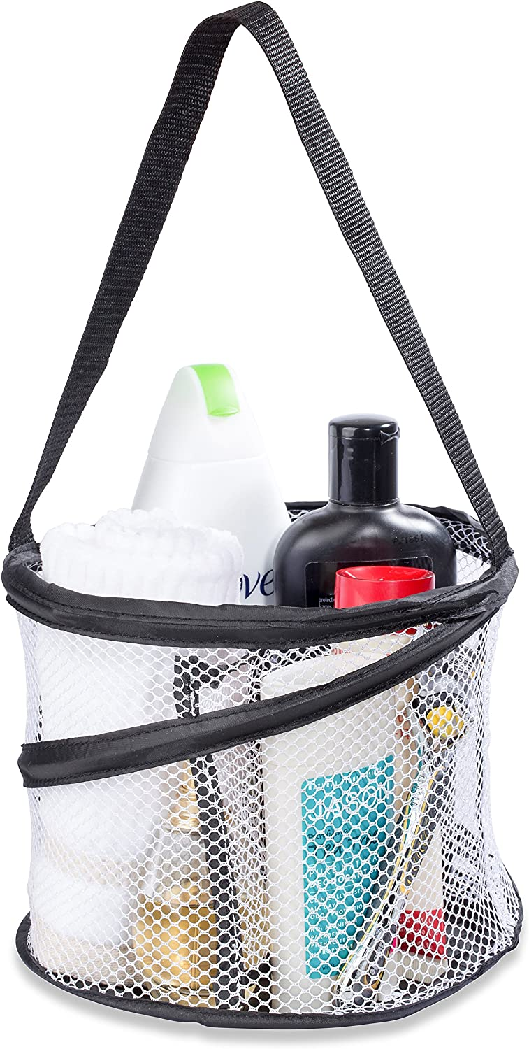 "Bathroom Personal Organizer - 8"" X 6"" - Three Large Compartments to Organize Your Bathroom Accessories. The Shower Caddy Features a Drainage Hole and Carry Handle for Easy Transport. (Black)"