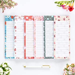 """Peach Tree Shade Magnetic Notepads, 6-Pack 60 Sheets Per Pad 3.5"""" x 9"""", for Fridge, Kitchen, Shopping, Grocery, To-Do List, Memo, Reminder, Note, Book, Stationery, (OrigamiNotes One-Thousand Flowers)"""