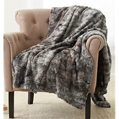 Pinzon Faux Fur Throw Blanket 63  x 87 , Frost Grey