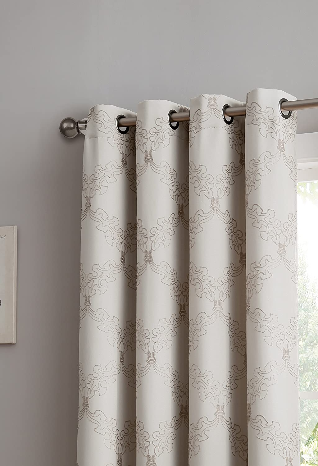 54 W x 84 L, Taupe//Linen DecoSource Vika Blocks 97/% of Light /& UV Rays Premium Quality Embroidered Thermal Weaved Blackout Window Treatment Energy Efficient -Noise Reduction