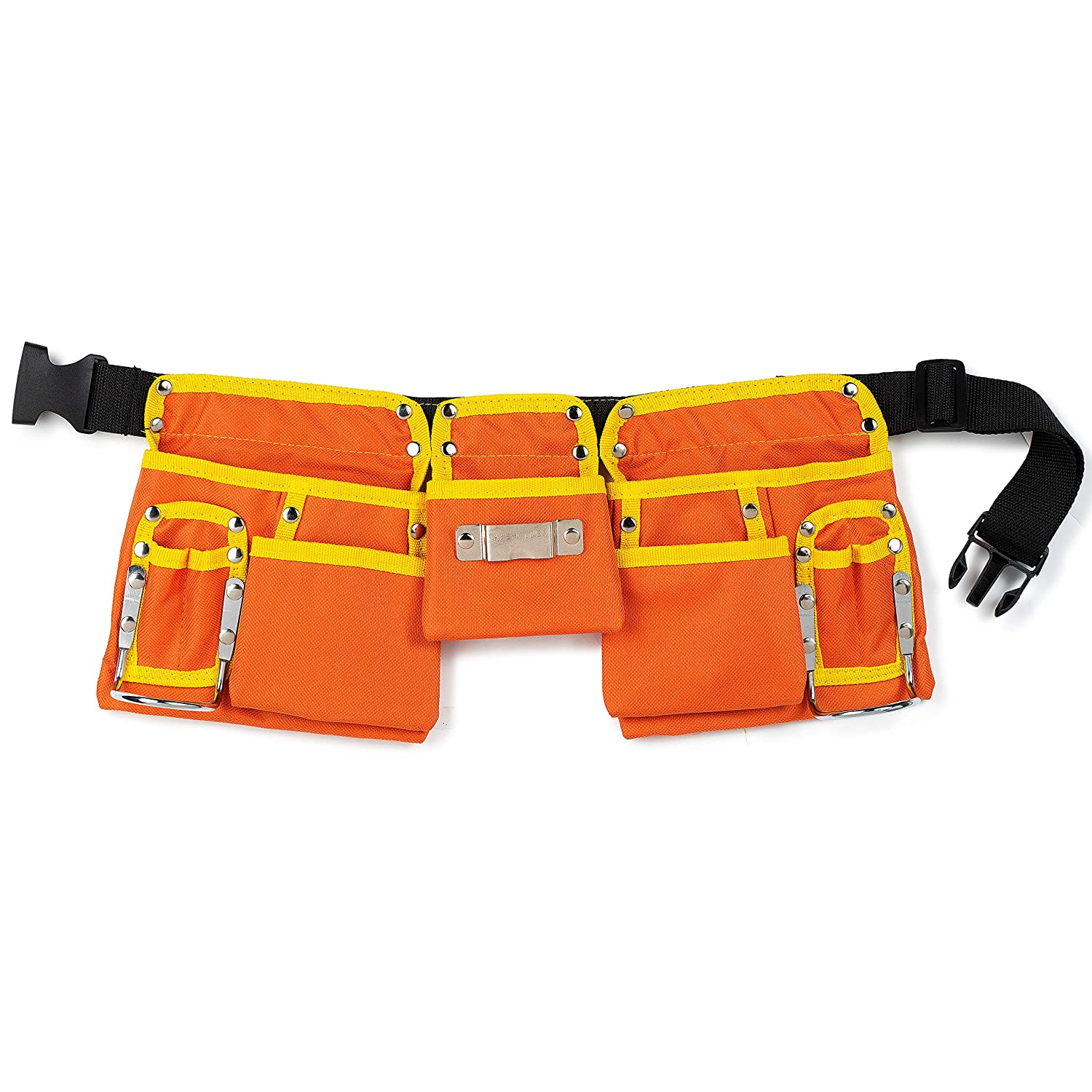 11 Pocket Brown 600D Polyester Kids Tool Belt, Work Apron Great for Pretended Play Role, with Adjustable Poly Web Belt Quick Release Buckle GlossyEnd