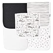 Ana Baby 100% Organic Baby Burp Cloth Large 21''x10'' Size, Premium Absorbent Triple Layer Burping Rags 5 Pack for New Born Baby Girl or Boy Gift Set (Burp Cloth Grey)