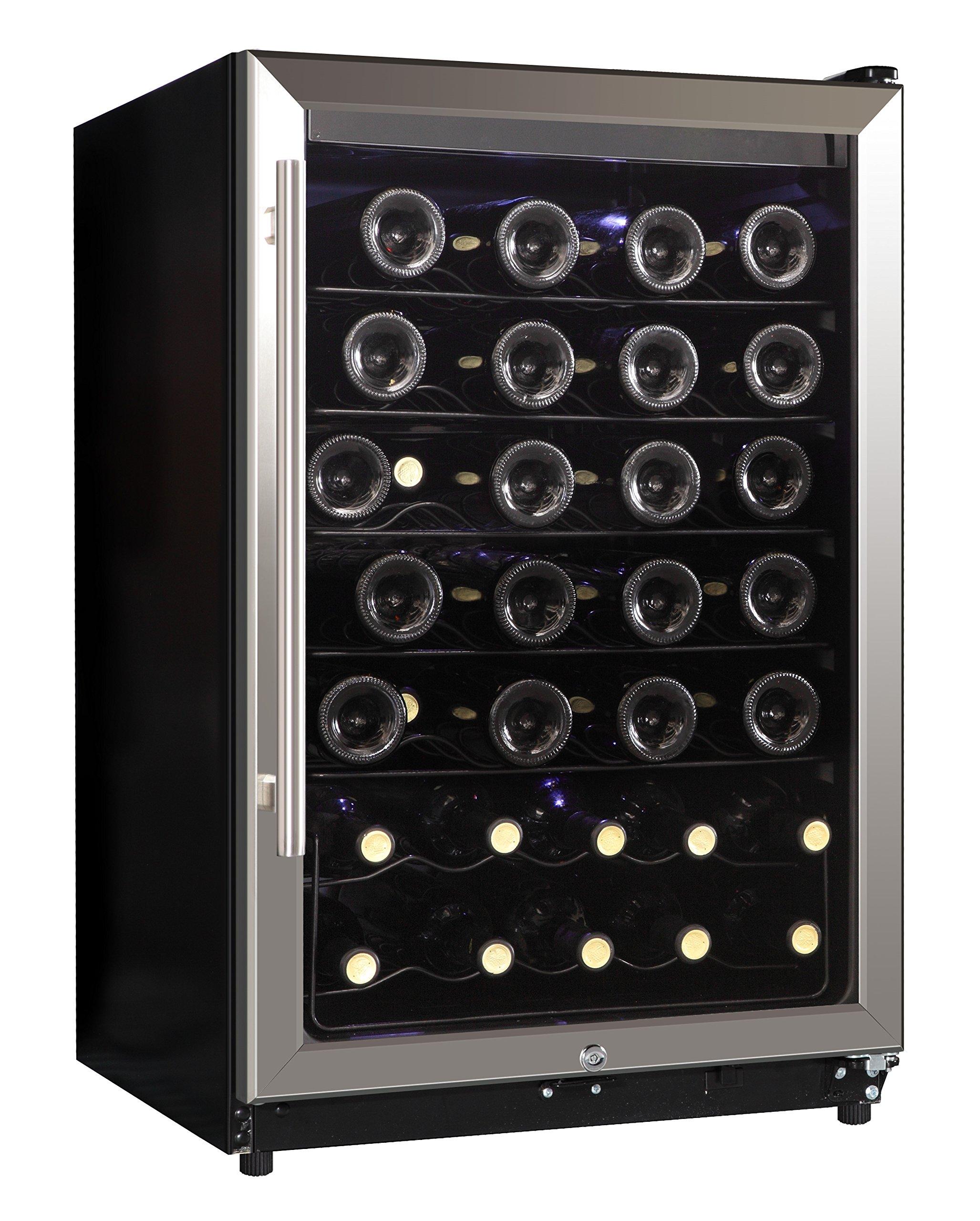 Midea WHS-169WES1 45-Bottle Free Standing Wine Cooler,  Metal Shelves, Black with Stainless Steel Door
