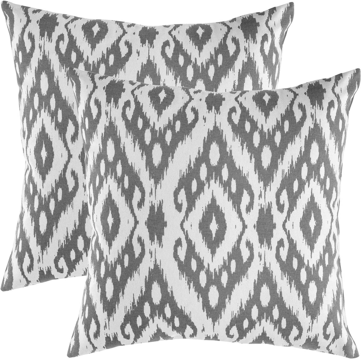 TreeWool (Pack of 2 Decorative Throw Pillow Covers Ogee Diamond Accent 100% Cotton Cushion Shams Cases (18 x 18 Inches / 45 x 45 cm; Graphite Grey)