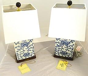 Pair of two (2) Ralph Lauren Mandarin Floral, Mandarin Blue & White Traditional