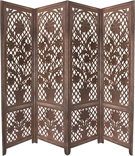 Benjara 4 Panel Wooden Screen with Cutout Trellis Pattern and Flower Pot Carvings, Brown