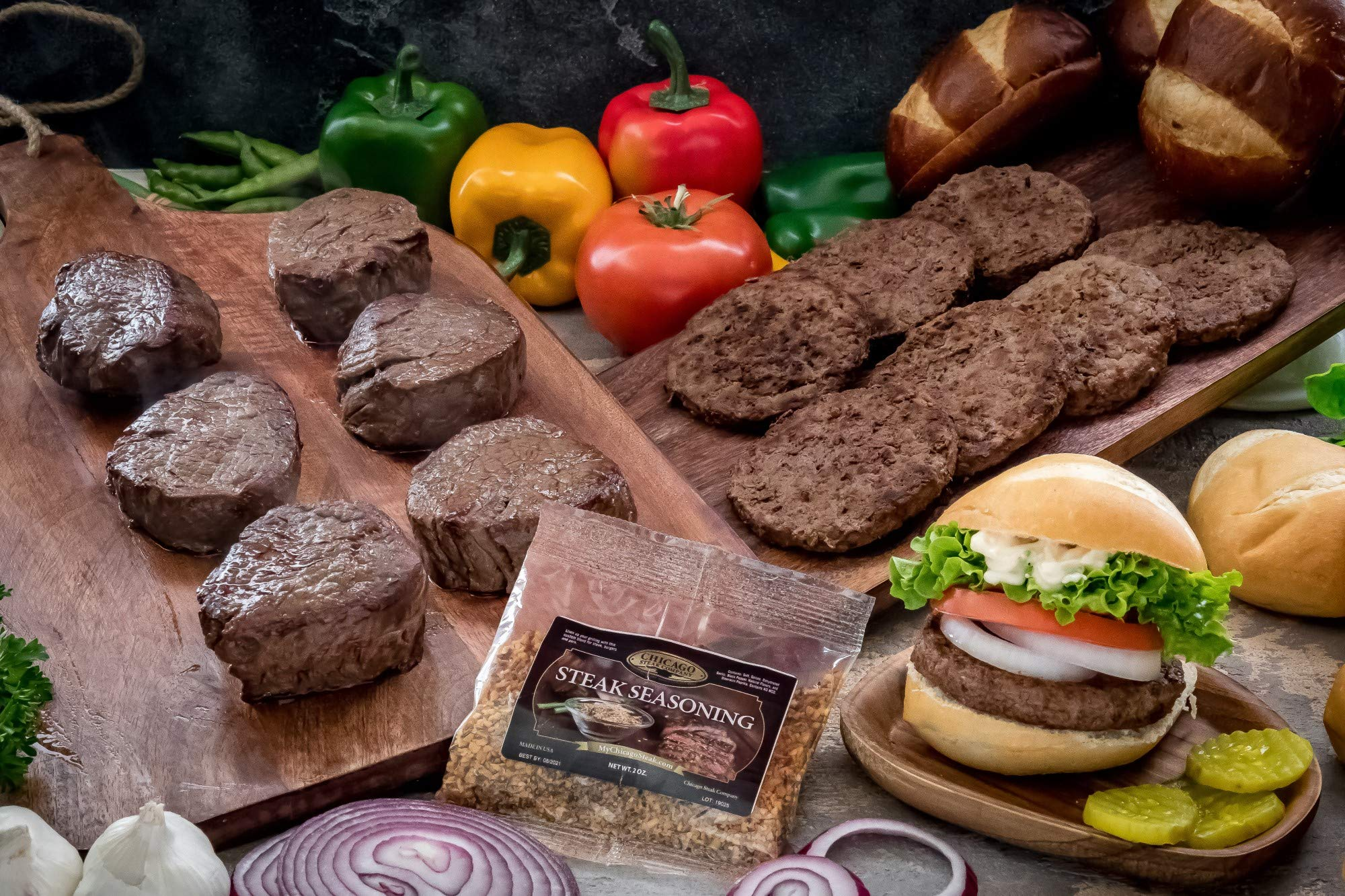 Butcher's Choice Gift Box 6 (6 oz.) Filet Mignons & 8 (4 oz.) Angus Beef Steak Burgers - Wet Aged Filet Mignons and Angus Beef Burgers Gift Set with 1 Pack Steak Seasoning - Home-made Grilled Steak