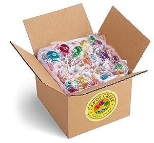 Oval Sugar Free Fruit Lollipops by Candy Creek, Bulk 4 lb. Carton, Strawberry, Watermelon, Concord Grape, Blueberry Blast, Lemonaid, Tangerine, Red Raspberry, and Sour Apple