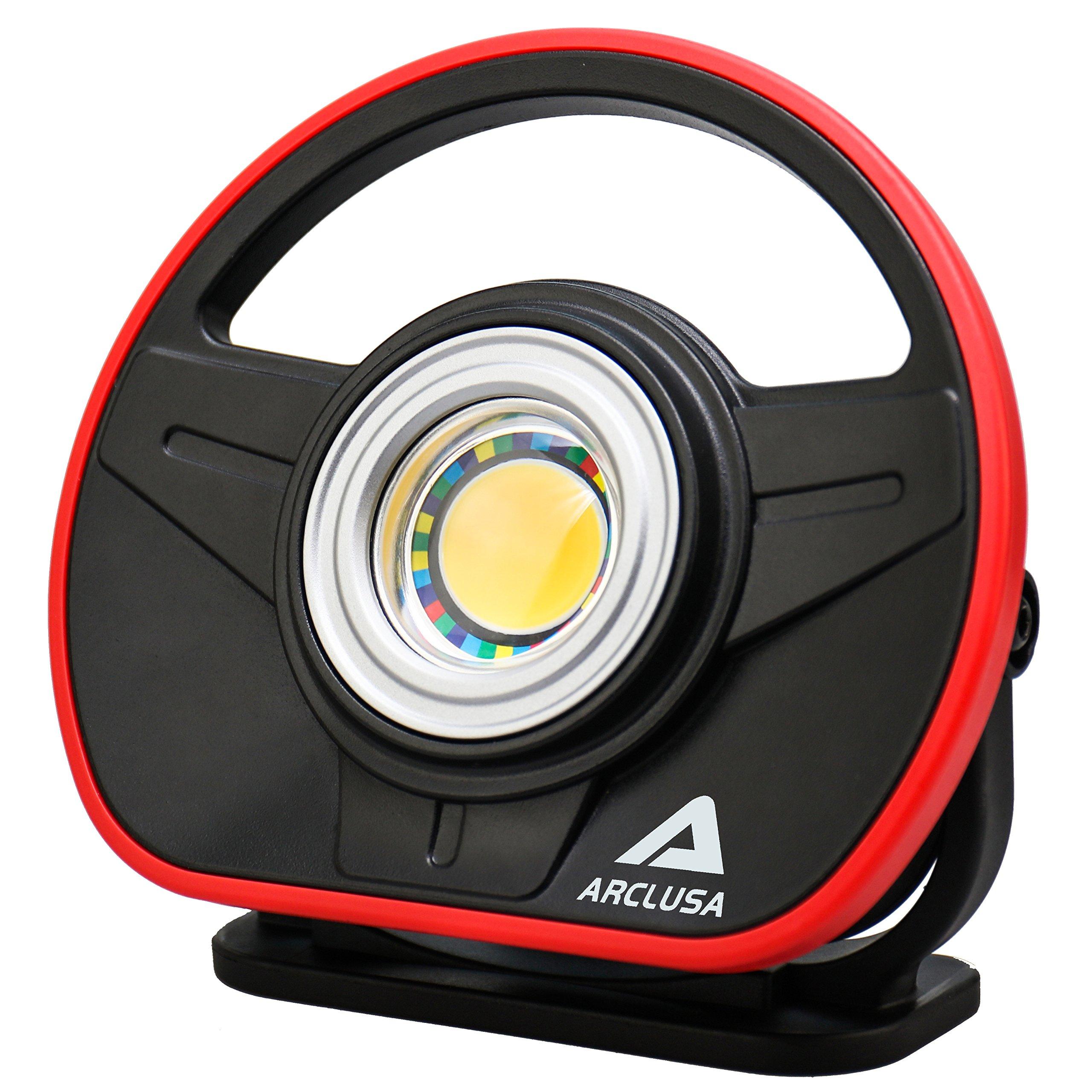 Arclusa COB LED Rechargeable Sunlight Color Match Paint Work Light Adjustable Holder Magnet Bottom Flood Light(1000 Lumen Color Match)