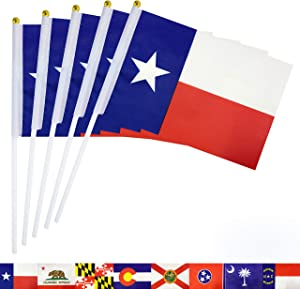 TSMD Texas State Stick Flag 50 Pack Small Mini Hand Held Texas TX Lone Star Flags Banner On Stick,Party Decorations Supplies for Parades,School Sports Event,International Festival Celebration