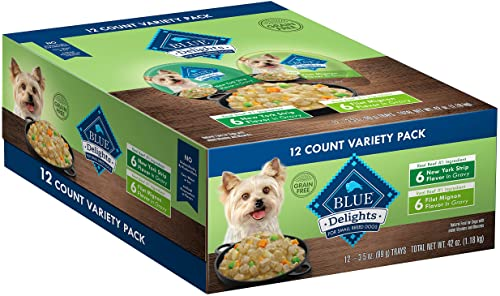 Blue Buffalo Delights Natural Adult Small Breed Wet Dog Food Cups, 3.5-oz Pack of 12