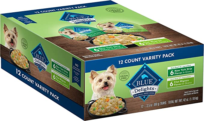 Blue Buffalo Divine Delights Natural Adult Small Breed Wet Dog Food Rotisserie Chicken Flavor in Hearty Gravy 99g Pack of 12