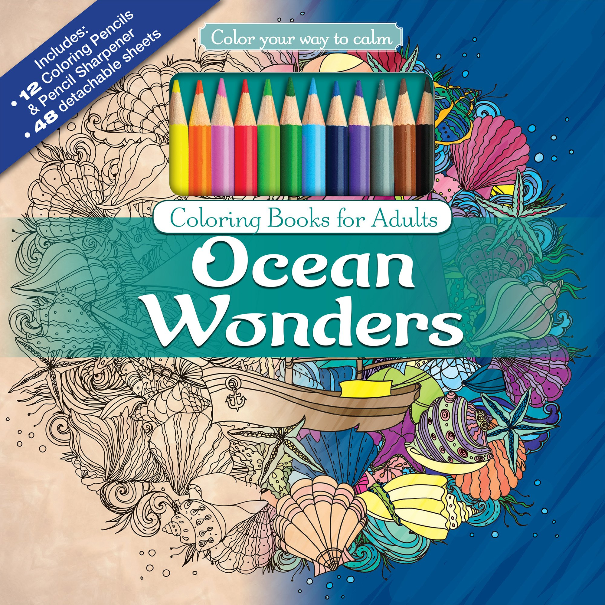 Amazon.com: Ocean Wonders Adult Coloring Book Set With 24 Colored ...