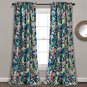 """Lush Decor, Navy Curtains Dolores Darkening Window Panel Set for Living, Dining Room, Bedroom (Pair), 95"""" x 52"""""""