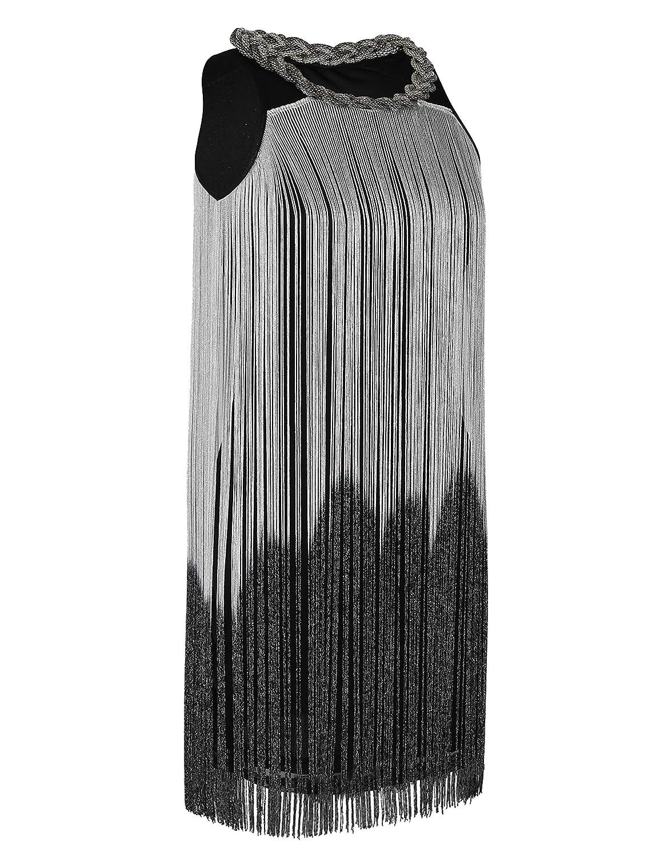 kayamiya Womens Flapper Cocktail Dress Vintage Swing Long Tassel 1920s Gatsby Ballroom Dance Dress