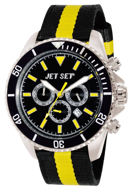 Jet Set – J21203 – 20 – Speedway – Armbanduhr – Quarz Chronograph – Zifferblatt schwarz Armband Stoff schwarz