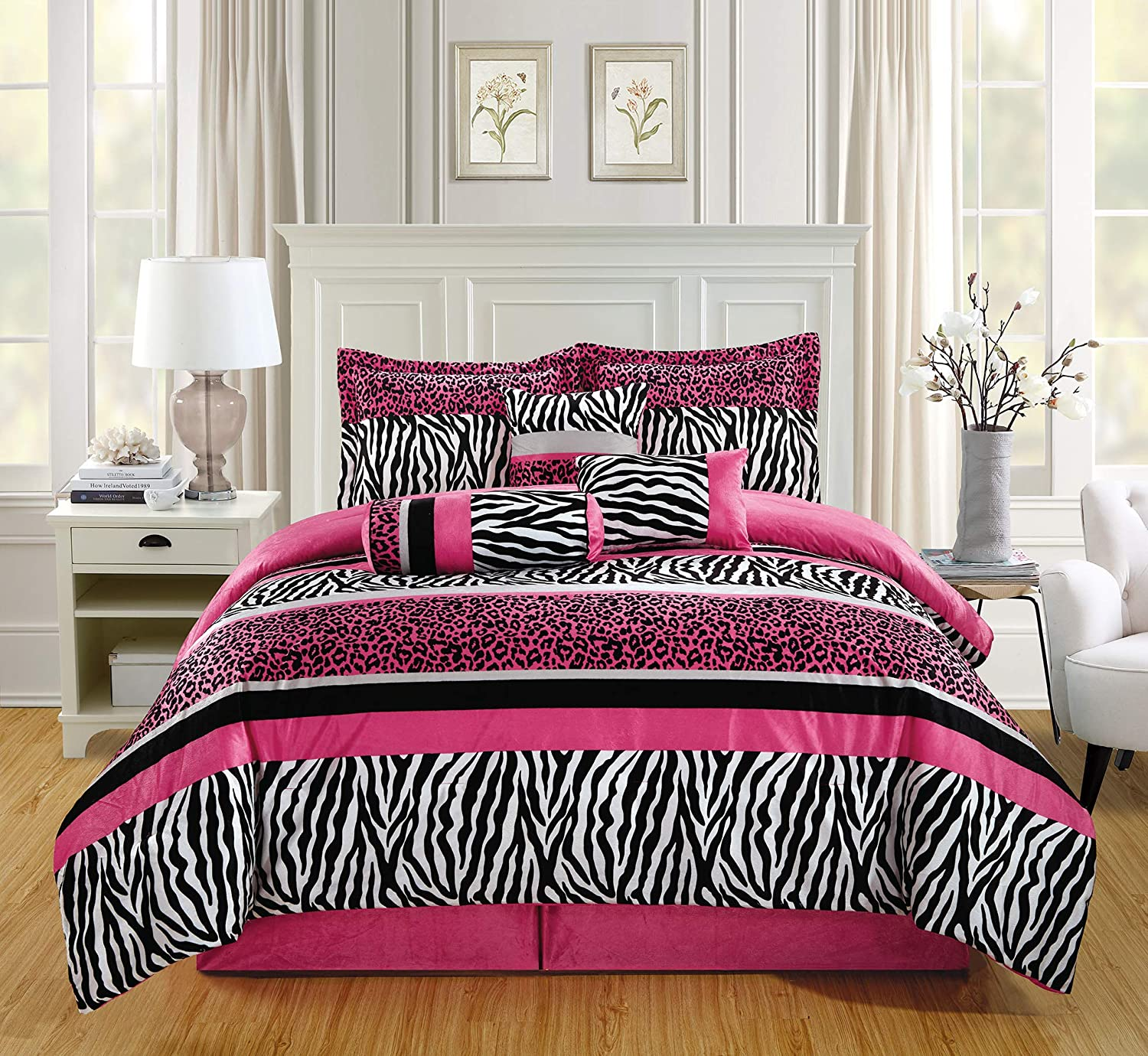 GrandLinen 5 Piece Twin Size Hot Pink Black Animal Print Safari Comforter Set. Leopard, Zebra, Velvet Bedding with Accent Pillows and Bed Skirt