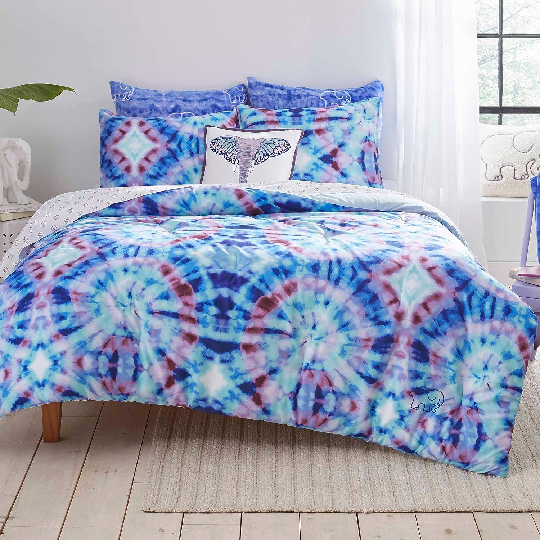 Ivory Ella Izzie Tie Dye Duvet Cover Set, Twin/XL, Blue