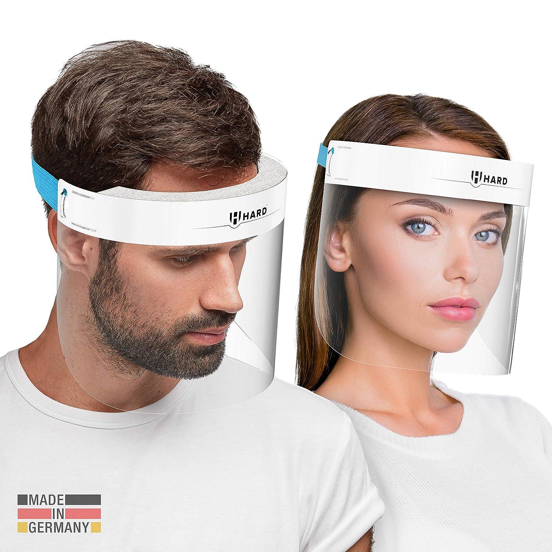 HARD 1x Pro visor Visera de protección facial, Certificado médico, Protector de plástico Antivaho, Pantalla protectora para adultos, Hecho en Alemania - Blanco/Azul