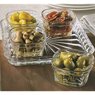 Le'raze Elegant Condiment Server and Dip Bowl Set, Crystal Sparkling Design Relish Tray, For Dried Fruits, Nuts, Candy, and Dips (Crystal)