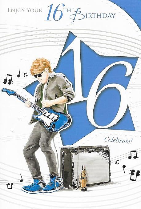 Carte D Anniversaire 16 Ans Male 16eme Anniversaire Garcon Jouant 22 9 X 15 2 Cm Pour Guitare Electrique Amazon Fr Cuisine Maison