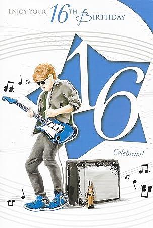 Edad 16 macho Tarjeta de cumpleaños - 16th cumpleaños niño jugando ...