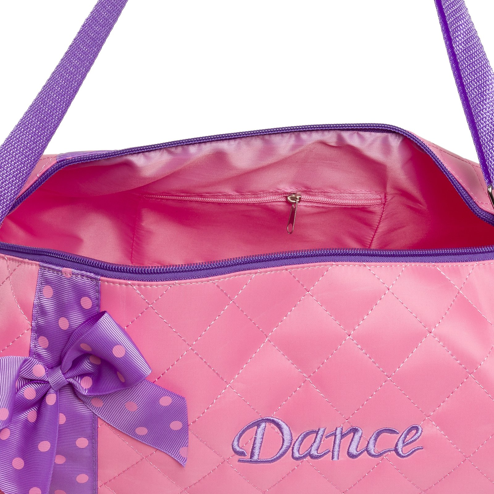 Silver Lilly Girls Dance Bag - Quilted Duffle Bag w/Lavender Bow (Light Pink) by Silver Lilly (Image #4)