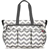 Skip Hop Duo Double Signature Carry All Travel Diaper Bag Tote with Multipockets, One Size, Chevron