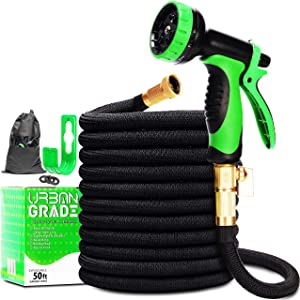 Expandable 50ft Garden Hose | New 2020 Superior Strength Lightweight Water Hose 50ft | Retractable Non Kink Flexible Black Hose | Solid Leak Proof 3/4 Inch Brass Connectors | 10 Function Sprayer