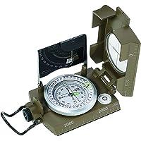 Herbertz- kompas, vloeistofgedempte capsule, 360 graden, schemeringsteken, vergrootglas, aanlegrand, metalen behuizing.