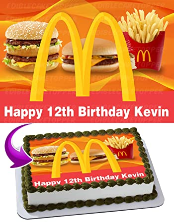 Mcdonald Edible Cake Topper Image Personalized Birthday 1 4 Sheet Decoration Custom Party