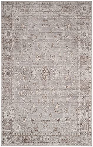 Safavieh Valencia Collection VAL105F Grey and Multi Vintage Distressed Silky Polyester Area Rug 4 x 6