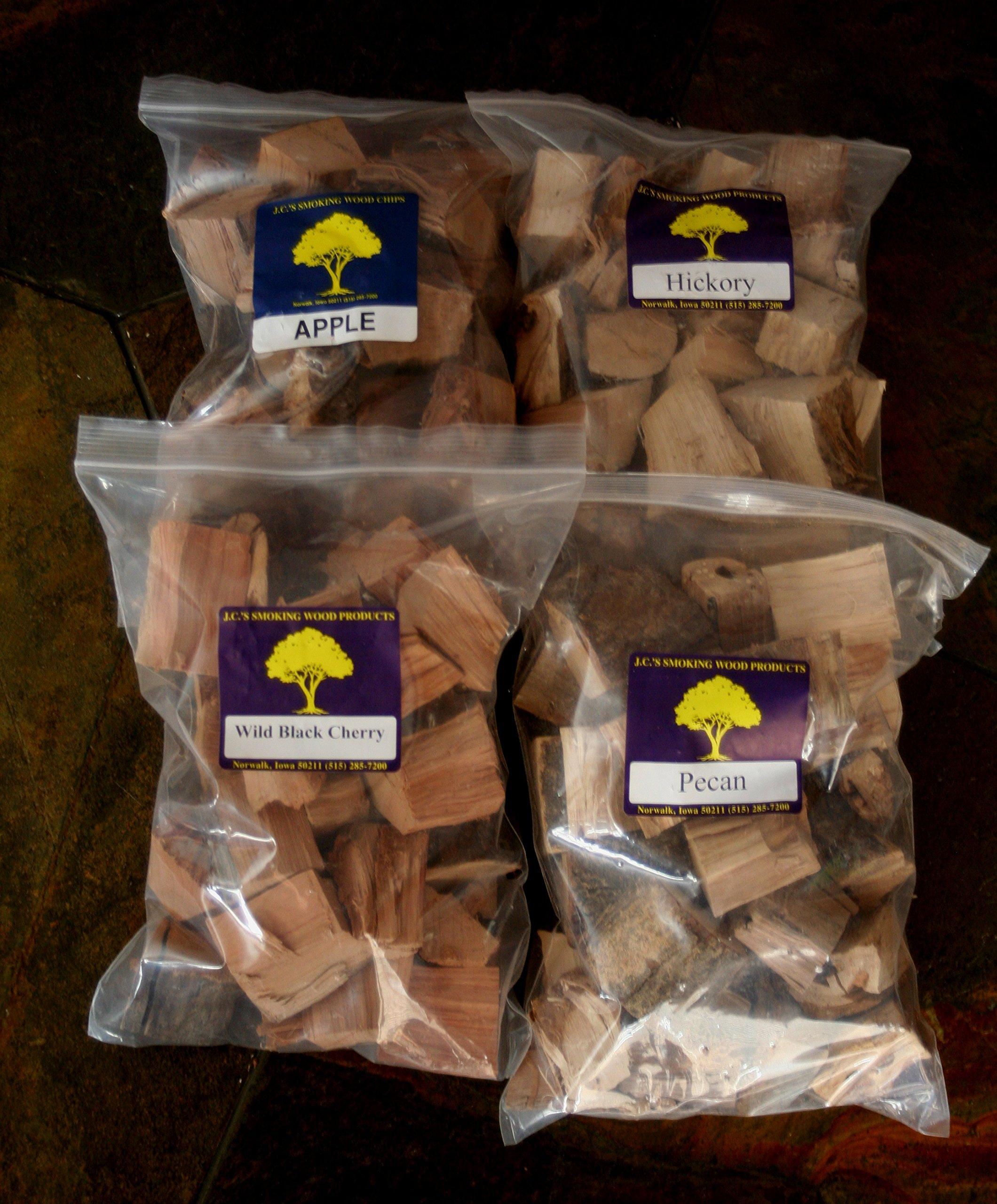 J.C.'s Smoking Wood Chunks - Premium 4 PK Gallon Sized bag of Apple, Hickory, Pecan, Wild Black Cherry by J.C.'s Smoking Wood Products