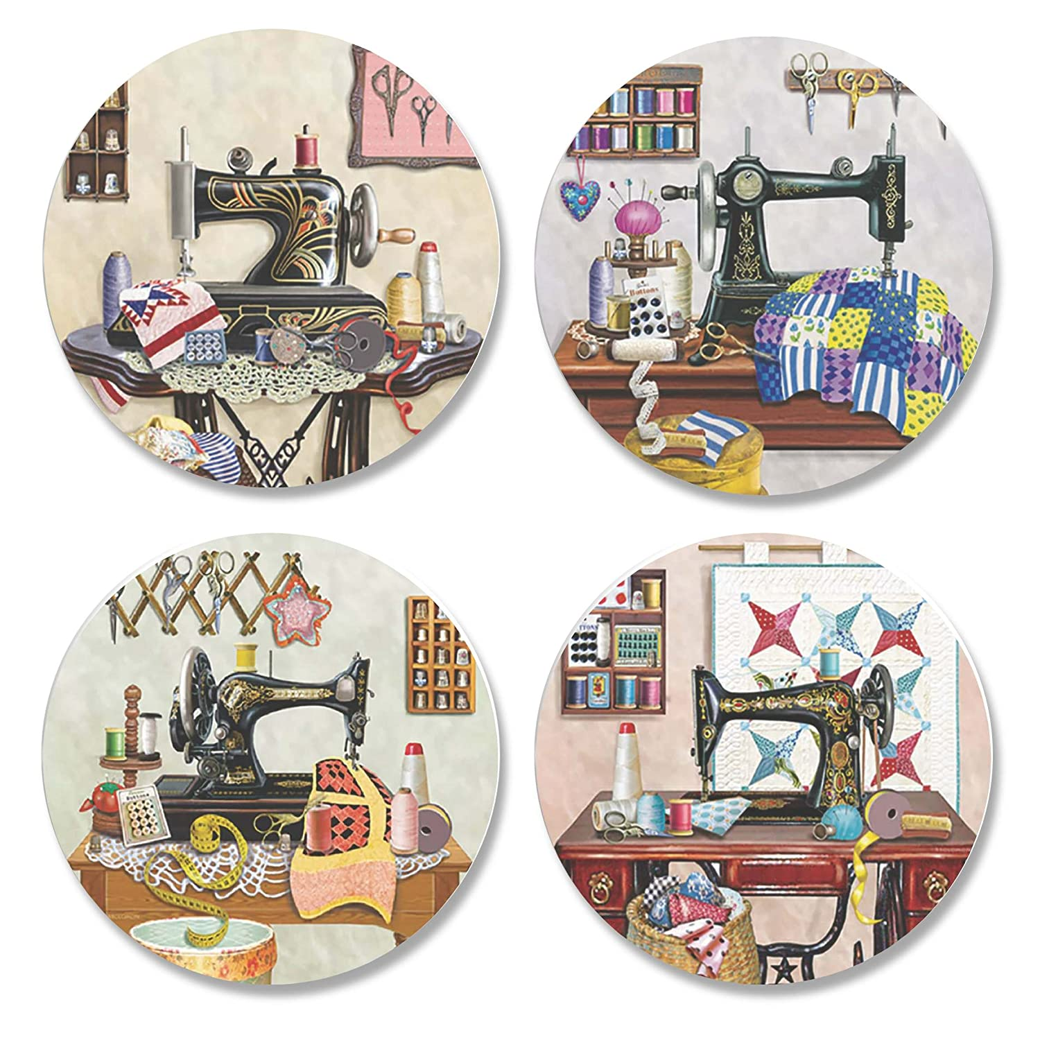 4 Pack Printed Dressmaking Sewing Pattern Weights. Antique Sewing Room designs by artist Rosiland Solomon. Inspired by the BBC Sewing Bee. (50mm Diameter) Mrs DIY