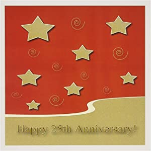 Happy 25th Anniversary, Gold Stars on Red, Employee - Greeting Card, 6 x 6 inches, single (gc_34306_5)