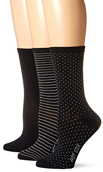68db2f5e541 Hot Sox Women s 3 Pack Originals Classics Crew Socks at Amazon ...