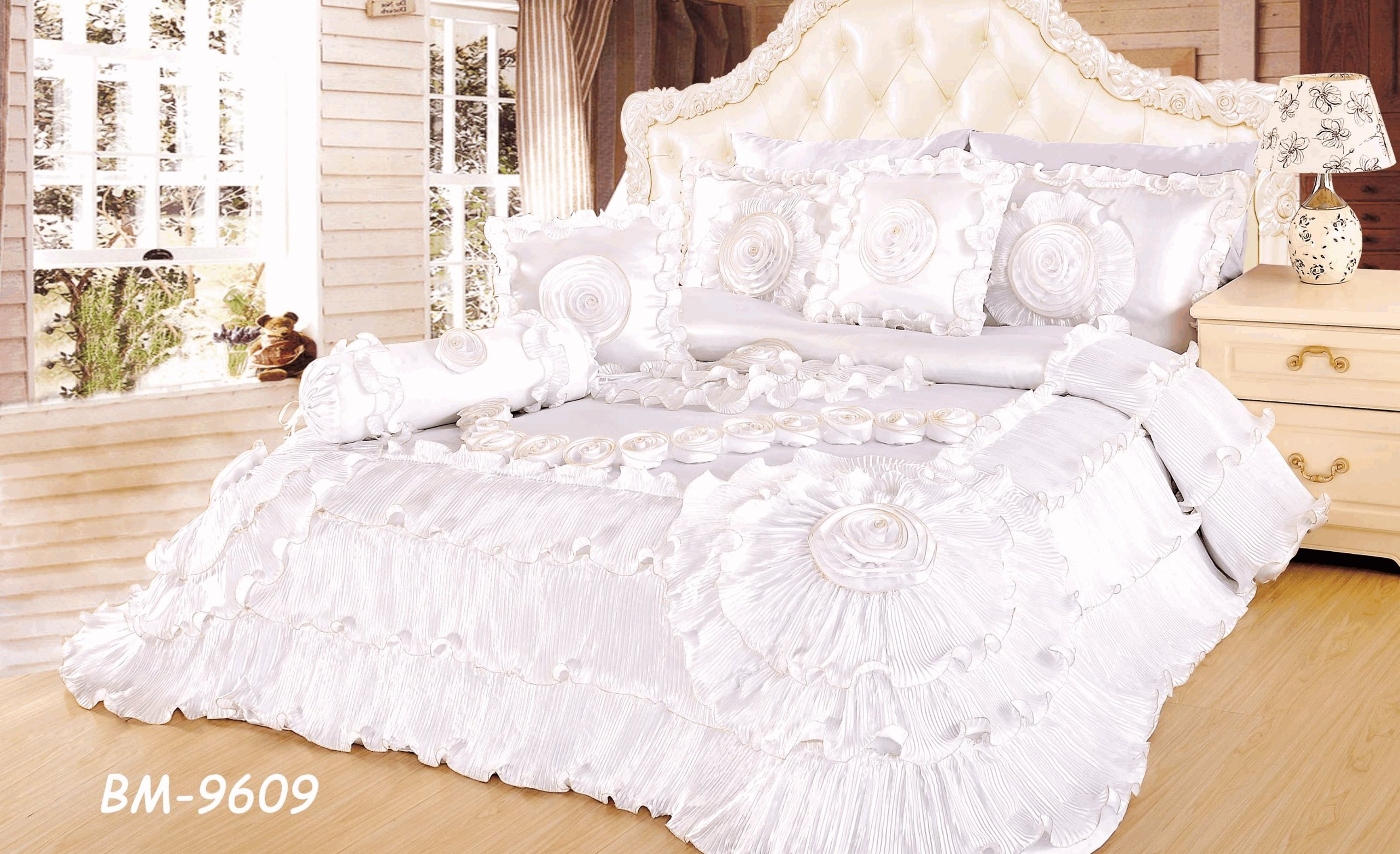Tache 6 Pieces Royal Wedding Chamber in White Ruffle Comforter Quilt Sets, California King by Tache Home Fashion