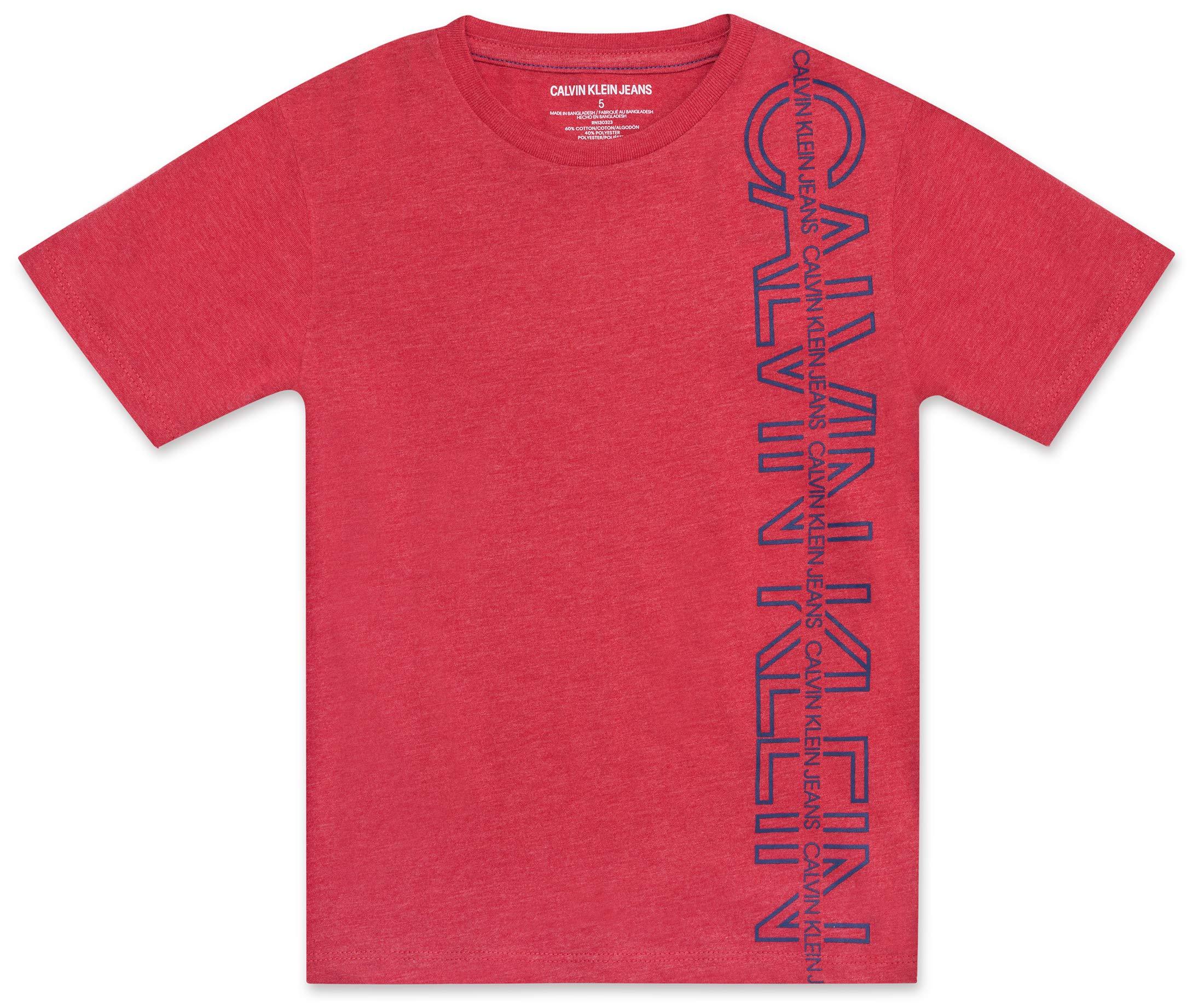 Calvin Klein Boys' Big Crew Neck Tee Shirt, red Heather, Medium (10/12)