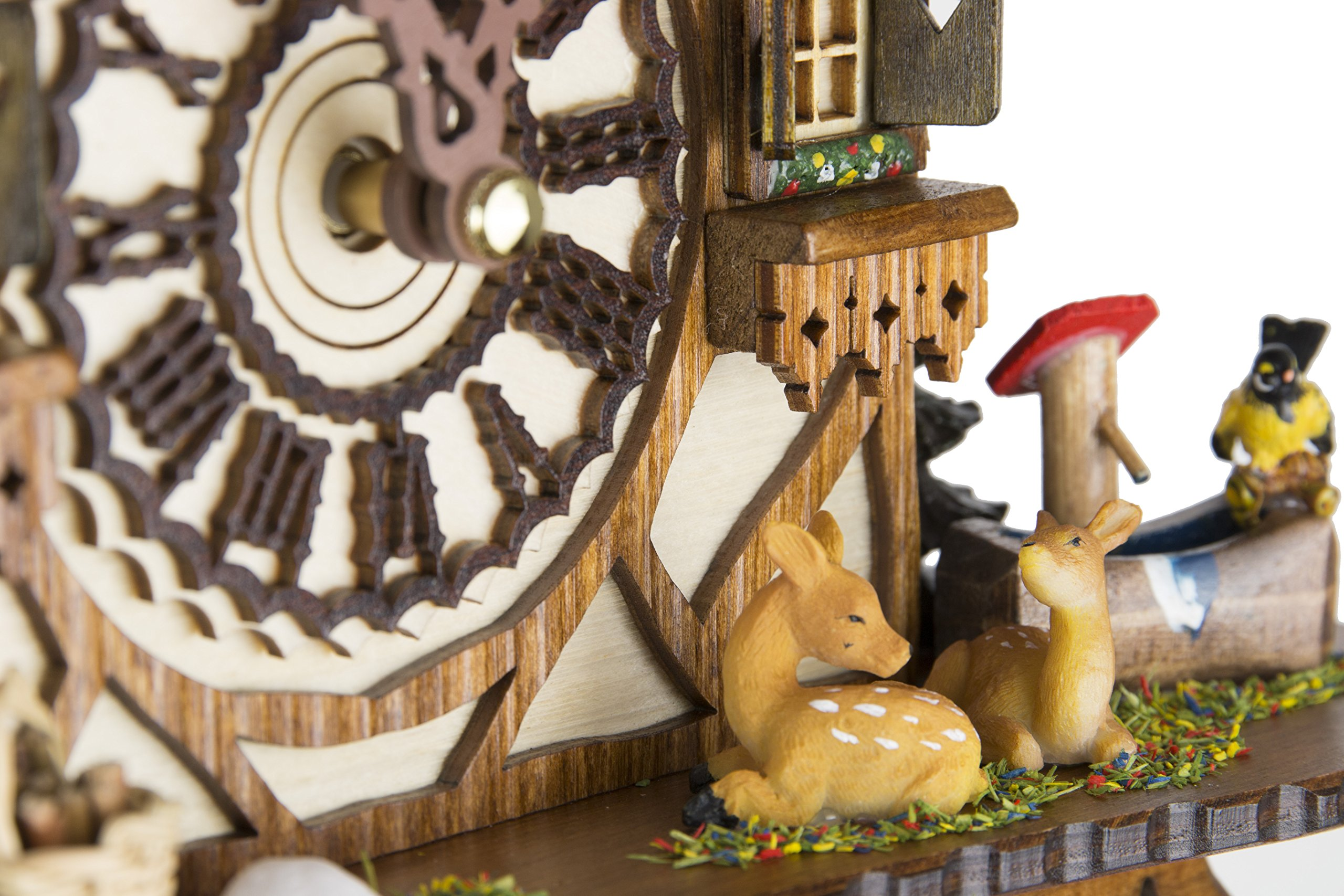 German Cuckoo Clock - Blackforest Hillside Chalet with wonderful animals - BY CUCKOO-PALACE with quartz movement - 10 1/4 inches height by Cuckoo-Palace (Image #3)