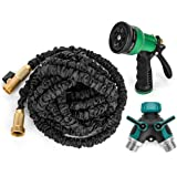 Premium 100' Expandable Hose, Best Expanding Garden Hose on the Market! Solid Brass Fittings, Double Latex Core, Heavy Duty Fabric, 3/4. Includes FREE Sprayer Nozzle and 2-Way Splitter (100)