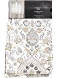 Envogue Taupe Grey Zlatka Floral Damask Cotton Window Curtain Panels 50 by 96 inch Designer Floral Print Drapery Beige Tan Gray Bordered