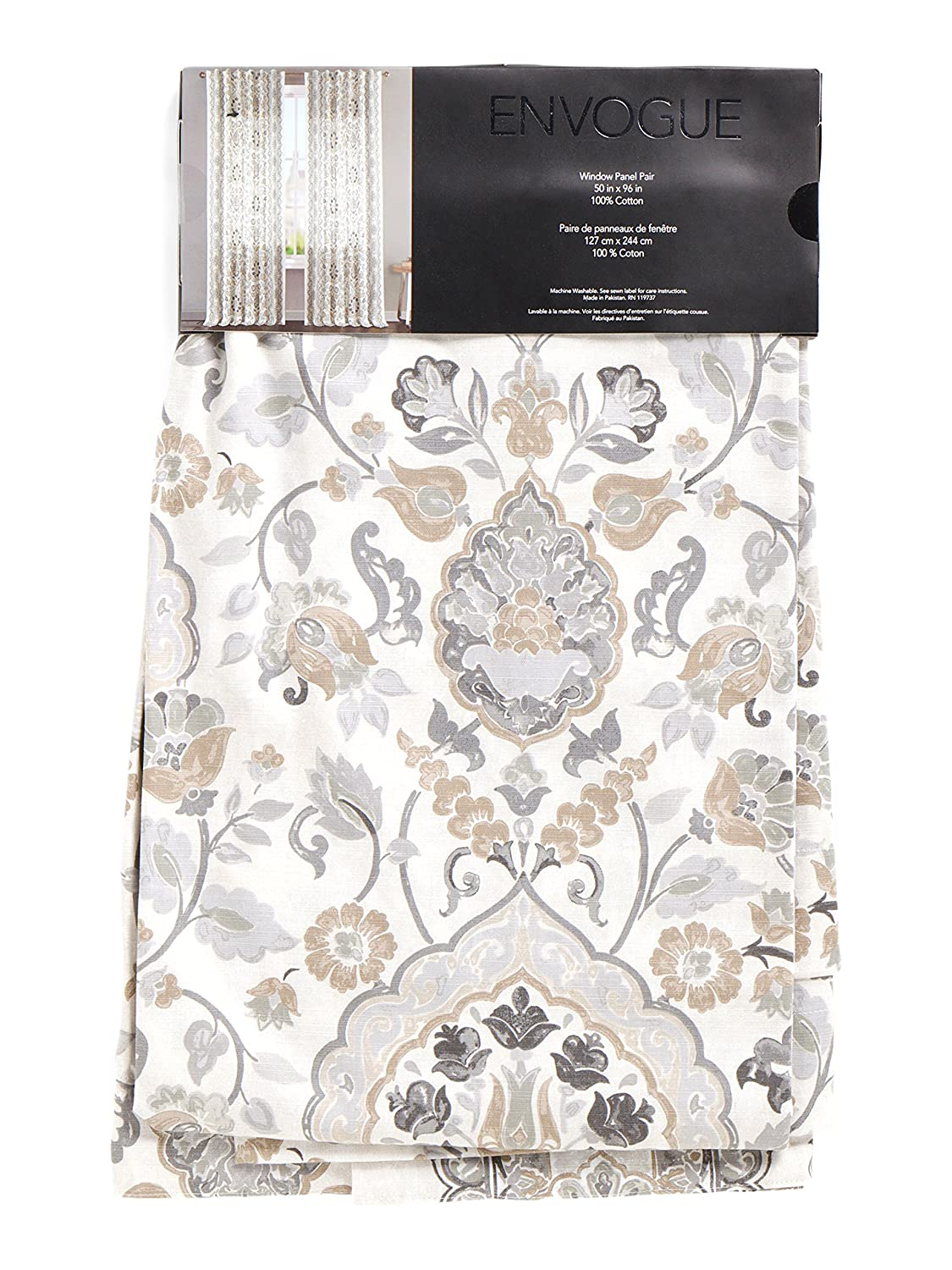 Amazon.com: Envogue Taupe Grey Zlatka Floral Damask Cotton Window Curtain  Panels 50 By 96 Inch Designer Floral Print Drapery Beige Tan Gray Bordered:  Home U0026 ...