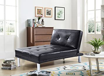 Superb Westwood Modern Chaise Longue Single Sofa Bed 1 Seater Couch Small Guest Sleeper Convertible Chair Faux Leather Living Room Furniture Psb03 Black Machost Co Dining Chair Design Ideas Machostcouk