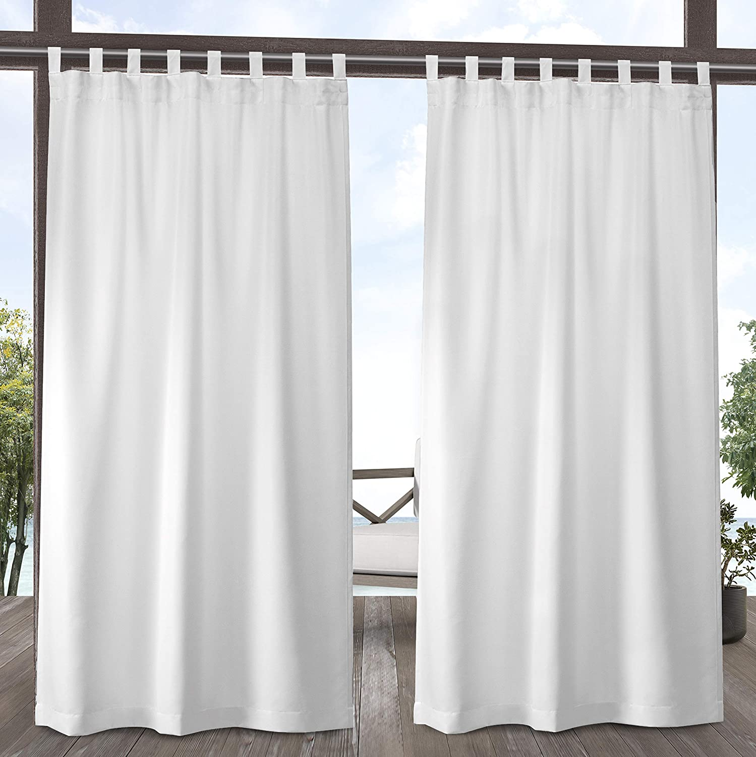 Exclusive Home Curtains Indoor/Outdoor Solid Cabana Tab Top Curtain Panel Pair, 54x96, Winter White,EH8279-01 2-96V