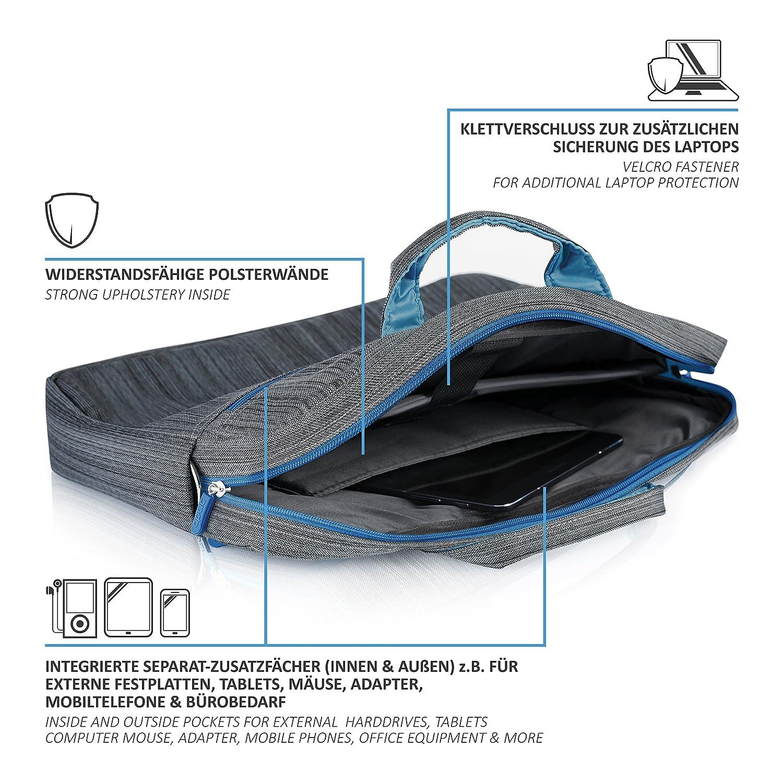 Malet/ín para Ordenador CSL Malet/ín para port/átiles de hasta 15,6 Pulgadas 39,5cm Mochila para port/átile -Acolchada y Resistente a la Suciedad y al Agua