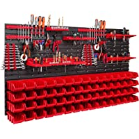 60 stapelboxen, gereedschapshouder, wandrek, werkplaatsrek, gereedschapswand, 156 x 78 cm, gereedschapshouder…
