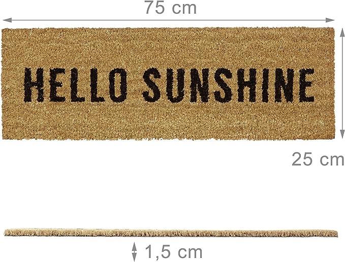 PVC Marrone 30 x 30 cm Relaxdays Zerbino per Ingresso Modello Sunshine in Fibra di Cocco