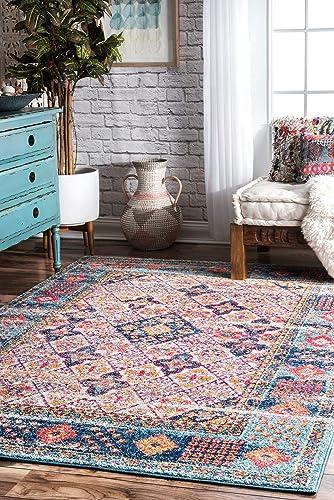 nuLOOM Dorine Diamond Tiles Area Rug, 4 x 6 , Light Blue