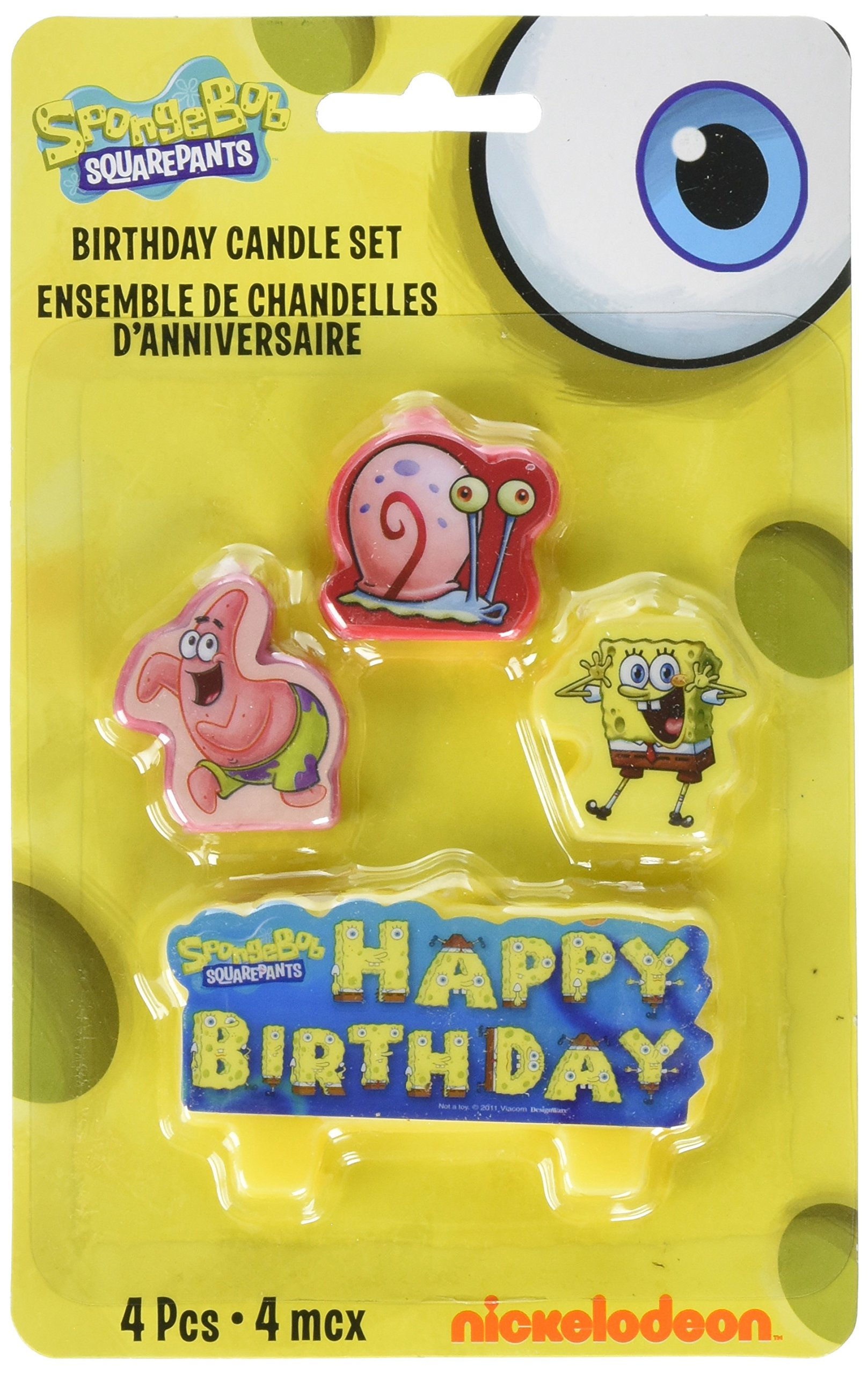 Amscan Party Time Spongebob Molded Mini Character Birthday Candle Set, Pack of 4, Multi Wax Childrens-Cake-Decorations, Multicolor /Wax, 1.25''